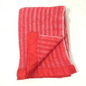 Vtg Sears TWIN Red Waffle Weave Blanket Satin Trim